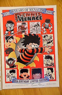 BEANO Dennis The Menace 50th Birthday Limited A4 Print #853 Signed - Not Annual