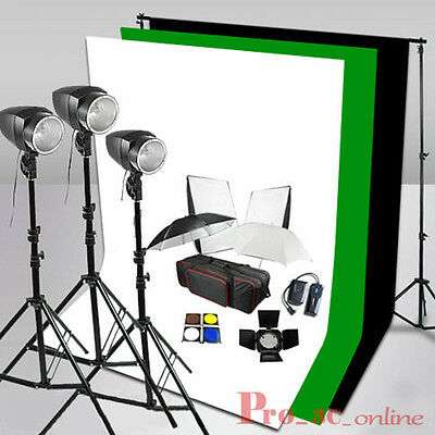 540W Flash Lighting Studio White Black Green Background Stand Clamps Kit