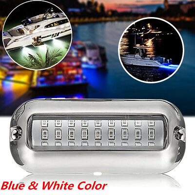3.5'' Blue 27 Led with 316SS Cover 50W Underwater Pontoon Boat Transom Light 12V