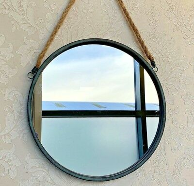 Industrial Style Wall Hanging Rope Mirror Round Porthole Metal