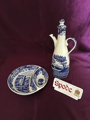 Spode Blue Italian Gourmet set Oil Drizzler and Olive Tray - immaculate