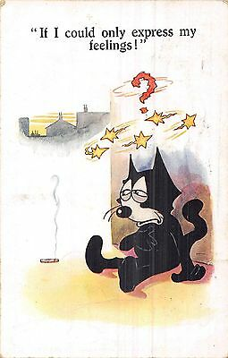 POSTCARD  COMIC  FELIX  THE  CAT  If I  could only  express my  feelings !