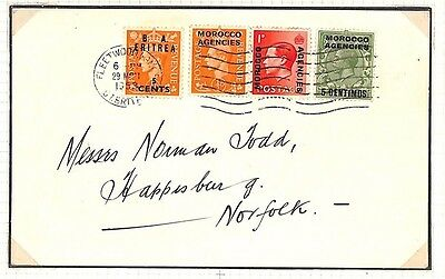 AG270 1953 GB Lancs Usage BOIC Mixed Franking *MOROCCO AGENCIES KEVIII* Cover