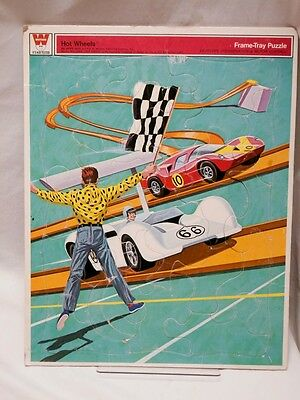 Vintage 1969 Hot Wheels #4542 Whitman Frame Tray Puzzle  14.5 x 11.5 Made in USA