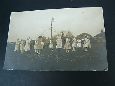 Real Photo RP Postcard showing Maypole Dancing - Maidenhead - 1913