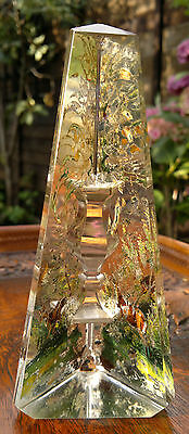 Antique Glass Obelisk Reverse Painted Black Forest Stags C1880 Grand Tour