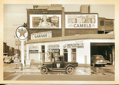 Post Card Of City Gas Station/garage From 30's With Neat Advertising Signs