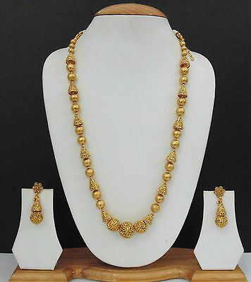 Indian Jewelry Gold Plated Traditional Necklace Earrings Mala Antique New Set D4