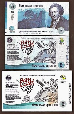 "England- Lewes : The ""Battle of Lewes"" £5 Banknote with limited edition Postcard"