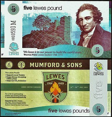 "England / Lewes - Limited edition £5 ""Mumford & Sons"" Local UK Banknote. UNC."