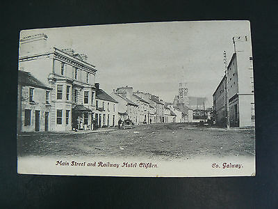 Main Street and Railway Hotel Clifden Co Galway Postcard by Lawrence of Dublin