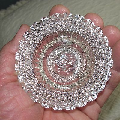 Vintage Pressed Glass Child's Doll or Bear Sharp Hobnail Bowl with Star of David