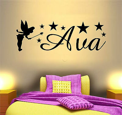 PERSONALISED NAME DISNEY Tinkerbell Wall Art Sticker Girls Nursery ...