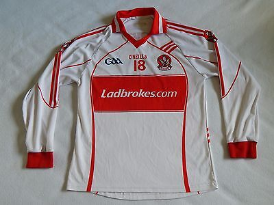 O'NEILLS DERRY LONG SLEEVE GAA GAELIC FOOTBALL SHIRT No.18 ,MENS SMALL