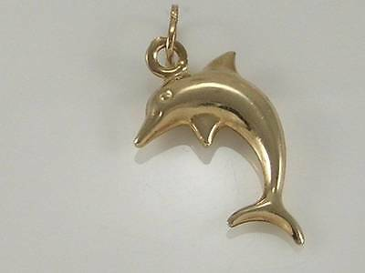 Lovely 3D 9ct Gold Dolphin Charm Pendant