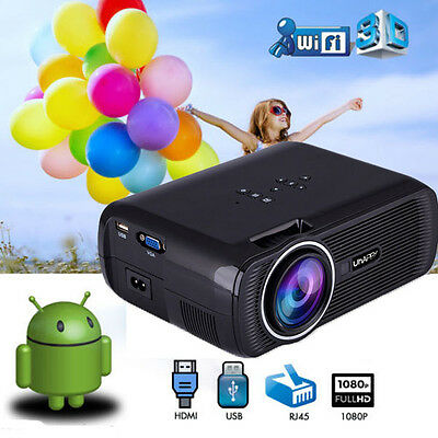 Android 5.1 7000LM Smart LED Projector WiFi Home Cinema HD 1080P HDMI USB