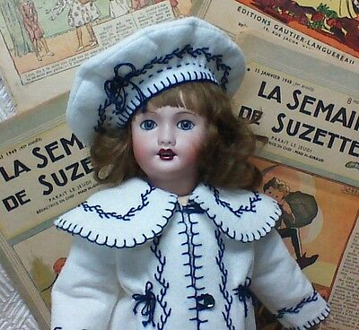 "Rosette (Bleuette's Sister) White Wool Beret & Coat KIT LSDS for 14"" Doll"