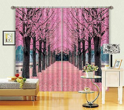 3D Trees road52 Blockout Photo Curtain Printing Curtains Drapes Fabric Window US