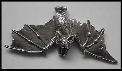 PEWTER CHARM #1001 BAT with open wings flying 1 bail 60mm x 26mm