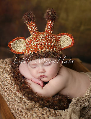 Newborn/Baby Crochet Giraffe Hat Photography Prop