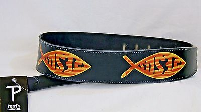 "Black Leather Christian Guitar Strap, 2 1/2"" Wide, Jesus Fish  New!"