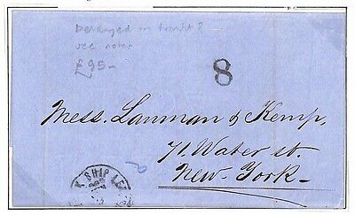 AF115 1865 PERU MARITIME MAIL *Lima* EL via Panama Delayed New York Ship Letter