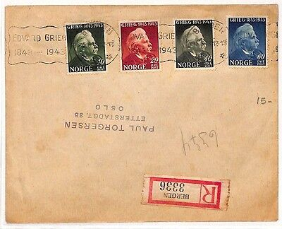 ZZ128 1943 NORWAY *Birth Centenary Greig* Relevant Slogan MUSIC{samwells-covers}