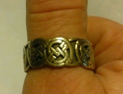 Vintage Peter Stone Sterling Celtic Knot Band Ring Size 12