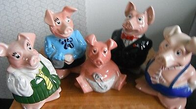 NATWEST PIGS Family full Set Piggybank Moneybox Wade Nat West Pig Cambridge SG8
