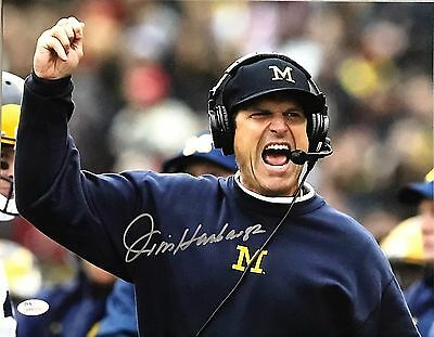 JIM HARBAUGH AUTOGRAPHED 11x14 PHOTO with JSA WITNESSED COA #WP405710 MICHIGAN