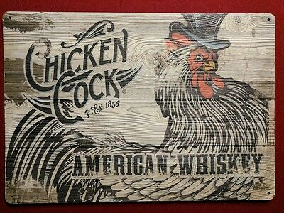 Vintage Chicken Cock Whiskey sign advertising whisky ~ RARE