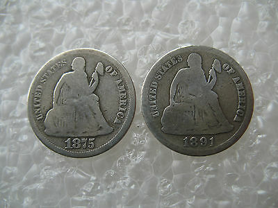 1875-S  & 1891-S  Seated Liberty Silver Dime Lot
