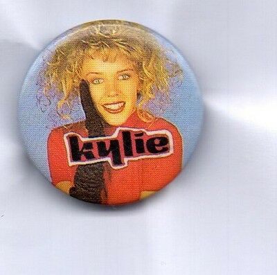 KYLIE MINOGUE BUTTON BADGE  FROM 80s ERA - I Should Be So Lucky 25mm PIN
