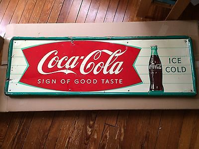 "Vintage Coca-Cola Metal Tin Sign Robertson 54"" x 18"" Soda Fountain"