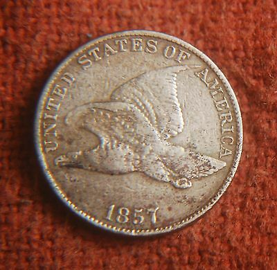 1857 US American Copper Nickel Extra Fine XF Flying Eagle Penny