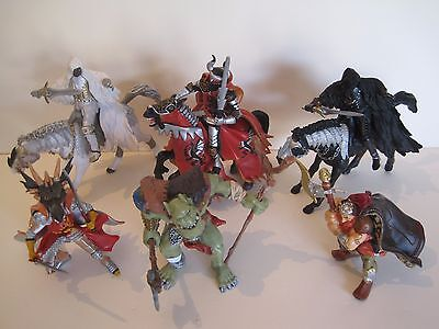 PAPO Fantasy Action Figures: COLLECTION OF x9 FANTASY KNIGHTS WARRIORS HORSES