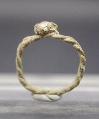 Nice Tudor Period Copper Alloy Ring With Glass Insert