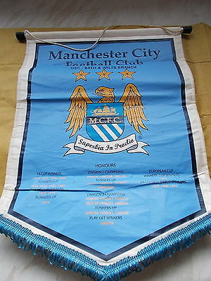 """Large Manchester City Pennant -OSC Bath & Wilts Branch - 11"""" x 15 1/2"""" Approx."""