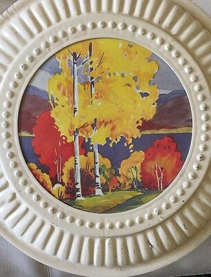 Vintage Pair Chimney Flue Cover Landscape Fall Trees with wire inserts