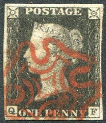 1840 Penny Black  - Plate 1a QF with brownish-red Maltese Cross . . .