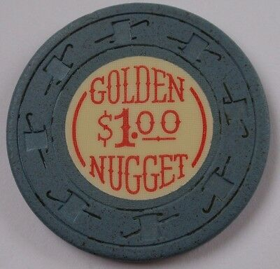 LAS VEGAS $1 CHIP Vintage GOLDEN NUGGET Casino - Gray/Blue - 10th Issue