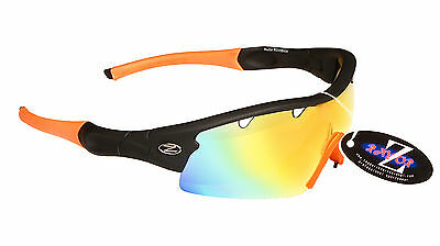 RayZor Uv400 1 Pce Vented Orange Mirrored Lens Archery Wrap Sunglasses RRP£49