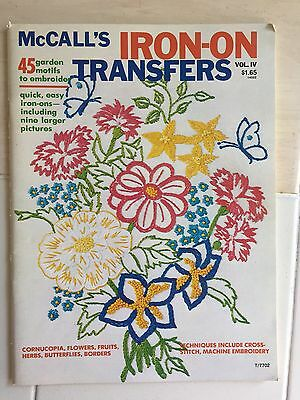 Vintage 1977 McCall's Iron-On Transfers Embroidery Garden Motifs VOL. IV