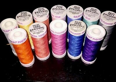 Lot 12 Sulky Polylite 60Wt Embroidery Threads -440Yds Each-Assorted Colors