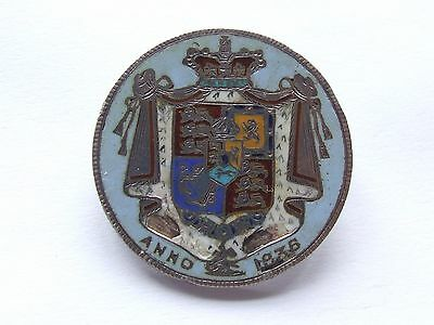 Enamelled Coin  - Antique William Iv 1836 Half Crown  As Silver Brooch