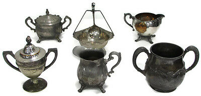 ANTIQUE (04) Mixed Lot of Silverplate Cups Bowls and Creamers - Very Cool!!