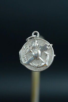 19THC Religious Silver Locket charm Medal Pendant 3 virtues Faith Hope Charity