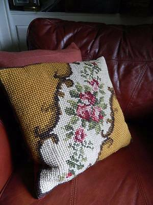Antique tapestry cushion cover - hand worked tapestry of  red roses