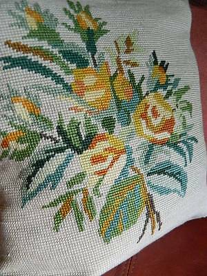 Antique tapestry cushion cover  hand worked tapestry - yellow roses
