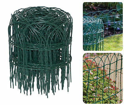 NEW STRONG GARDEN BORDER FENCE 25cm x 10m GREEN PVC WIRE EDGING LAWN FENCING